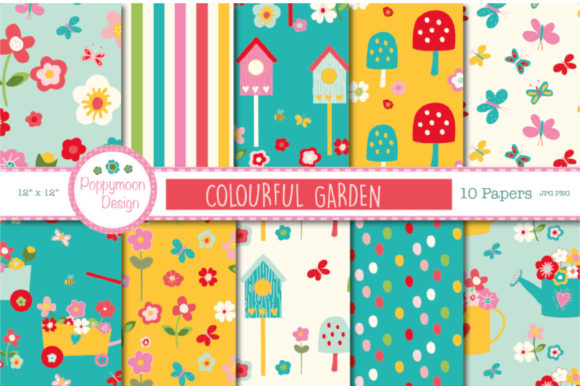Print on Demand: Colourful Garden Papers Graphic Patterns By poppymoondesign