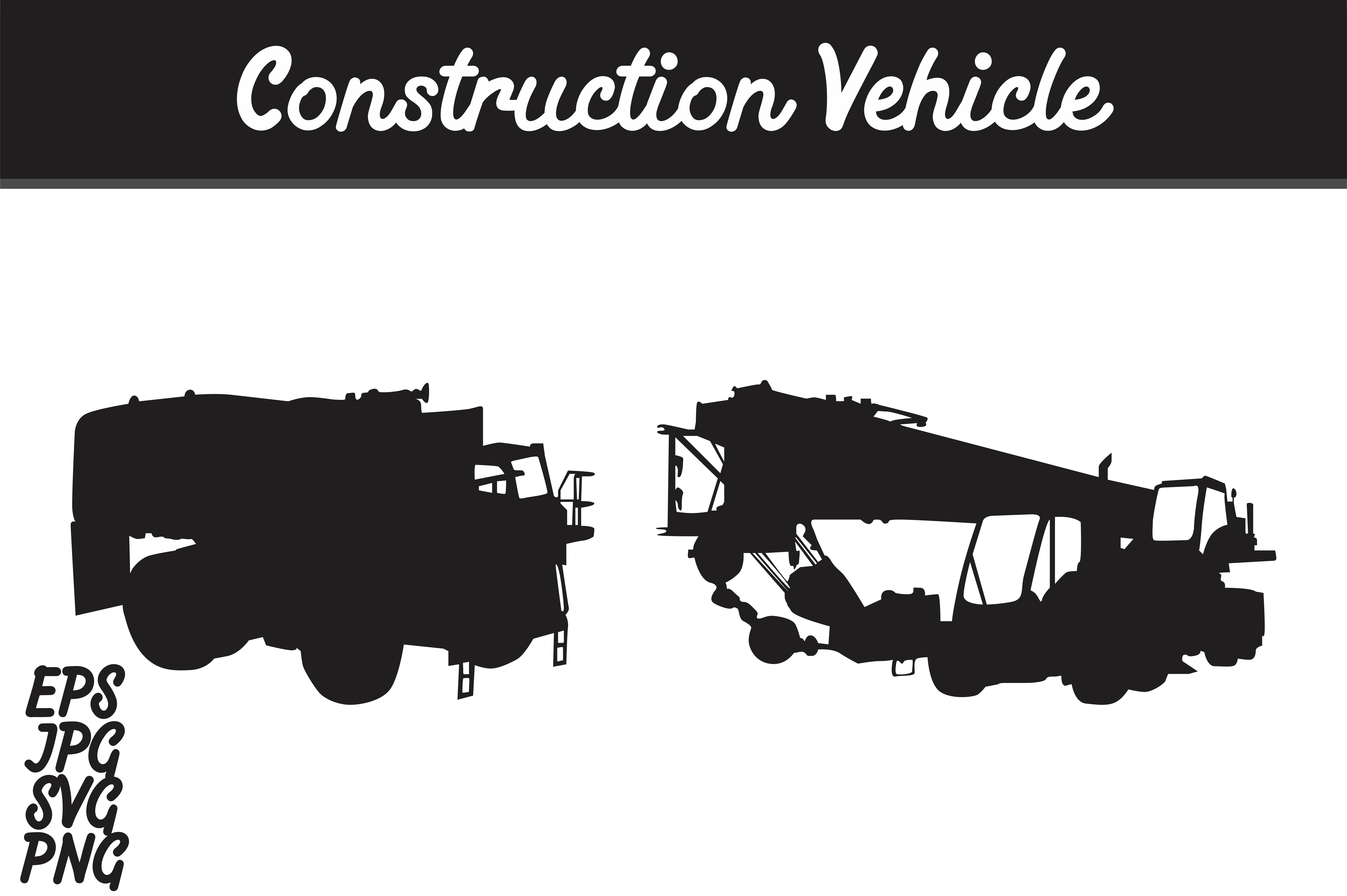 Download Free Construction Vehicle Silhouette Set Svg Vector Image Bundle for Cricut Explore, Silhouette and other cutting machines.