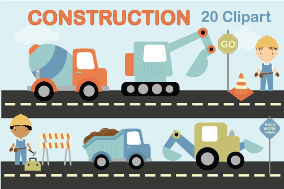Print on Demand: Construction Graphic Illustrations By poppymoondesign