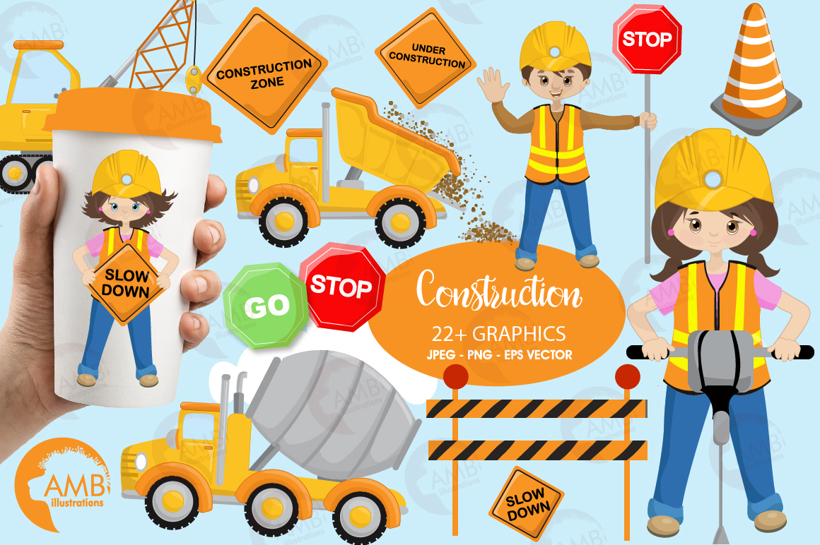 Download Free Construction Cliparts Graphic By Ambillustrations Creative Fabrica for Cricut Explore, Silhouette and other cutting machines.