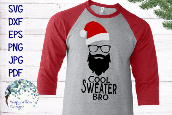 Download Free Cool Sweater Bro Hipster Santa Christmas Svg Grafik Von for Cricut Explore, Silhouette and other cutting machines.