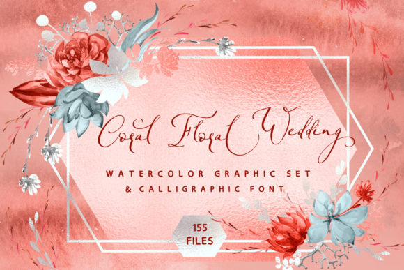 Print on Demand: Coral Floral Wedding Graphic & Font Graphic Objects By Iradvilyuk