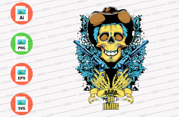 Cowboy Skull Graphic Illustrations By Skull and Rose