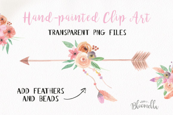 Create Your Own Boho Watercolor Feathers Flowers B Graphic Illustrations By Bloomella - Image 2