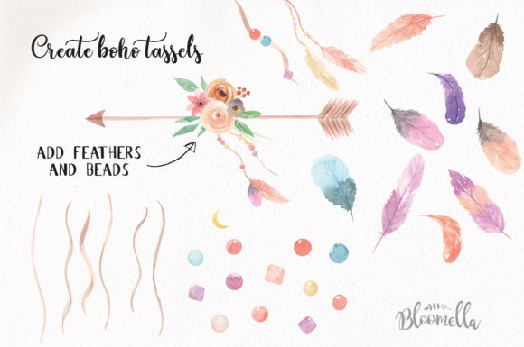 Create Your Own Boho Watercolor Feathers Flowers B Graphic Illustrations By Bloomella - Image 3