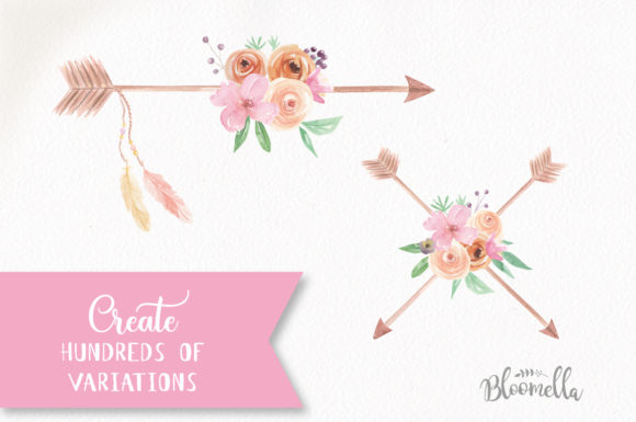 Create Your Own Boho Watercolor Feathers Flowers B Graphic Illustrations By Bloomella - Image 4