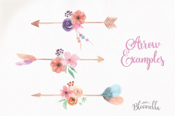 Create Your Own Boho Watercolor Feathers Flowers B Graphic Illustrations By Bloomella - Image 5