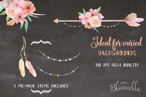 Create Your Own Boho Watercolor Feathers Flowers B Graphic Illustrations By Bloomella - Image 6