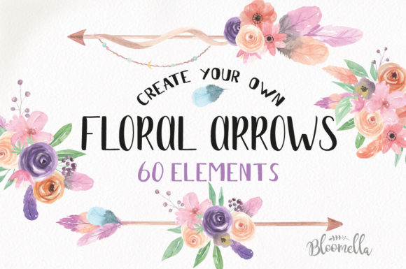 Create Your Own Boho Watercolor Feathers Flowers B Graphic Illustrations By Bloomella - Image 1