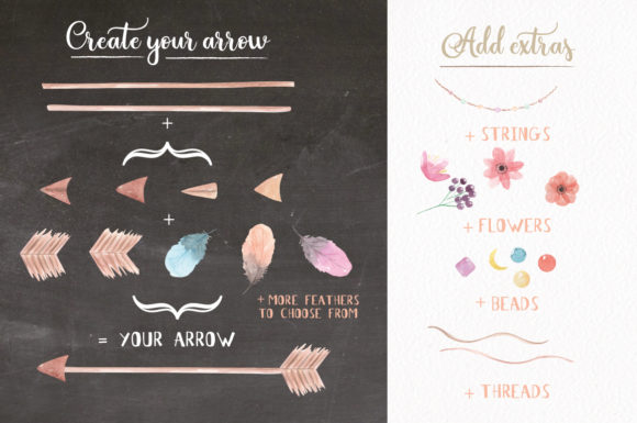Create Your Own Boho Watercolor Feathers Flowers B Graphic Illustrations By Bloomella - Image 7