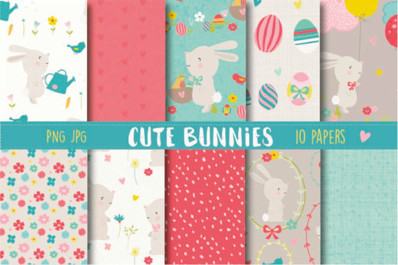 Print on Demand: Cute Bunnies Paper Graphic Patterns By poppymoondesign