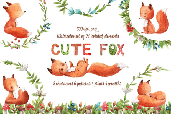 Download Free Cute Fox Watercolor Clip Art Set Graphic By Mashamashastu for Cricut Explore, Silhouette and other cutting machines.
