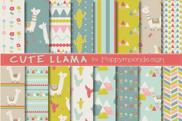 Download Free Cute Llama Papers Graphic By Poppymoondesign Creative Fabrica for Cricut Explore, Silhouette and other cutting machines.