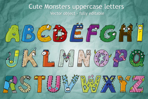 Cute Monster Uppercase Letters Graphic Illustrations By GiordanoAita