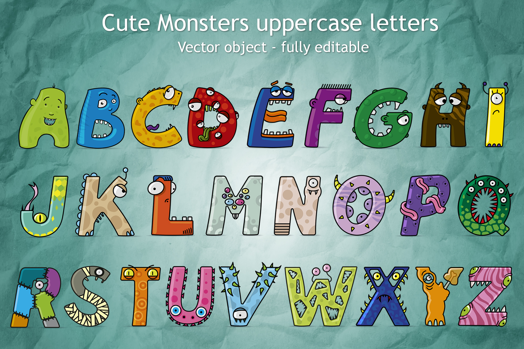 Download Free Cute Monster Uppercase Letters Graphic By Giordanoaita for Cricut Explore, Silhouette and other cutting machines.
