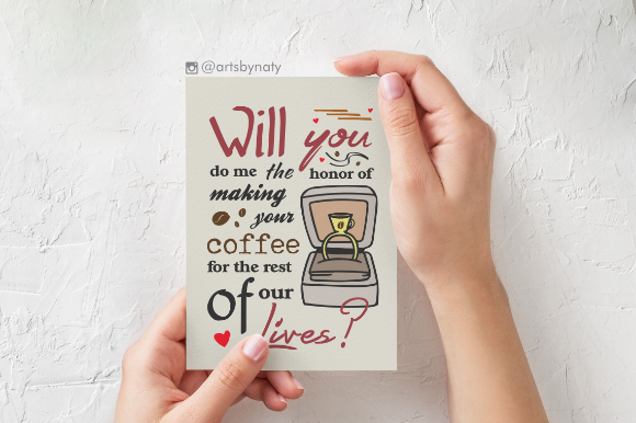 Print on Demand: Cute Proposal Phrase for Coffee Lovers Graphic Crafts By artsbynaty - Image 2