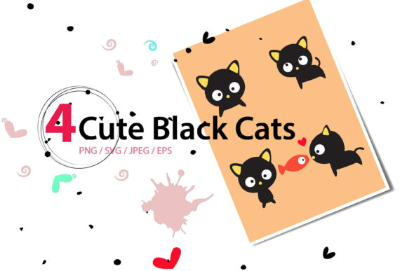 Print on Demand: Cute Black Cats Gráfico Ilustraciones Por 3Motional