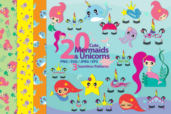 Download Free Cute Mermaids Unicorns Graphic By 3motional Creative Fabrica for Cricut Explore, Silhouette and other cutting machines.