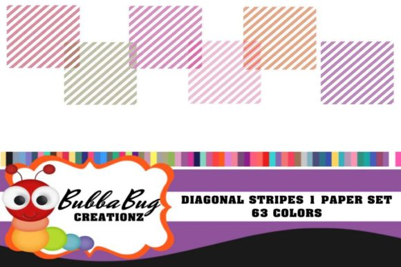Diagonal Stripes Set Graphic Patterns By BUBBABUG