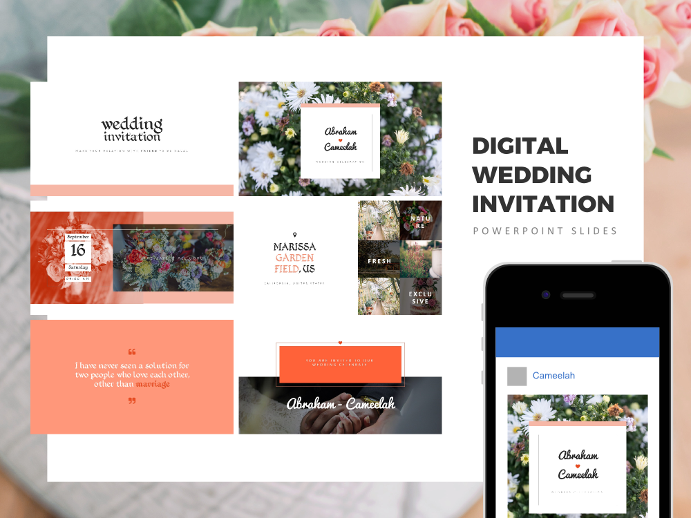 Download Free Digital Wedding Invitation Powerpoint Presentation Graphic By for Cricut Explore, Silhouette and other cutting machines.