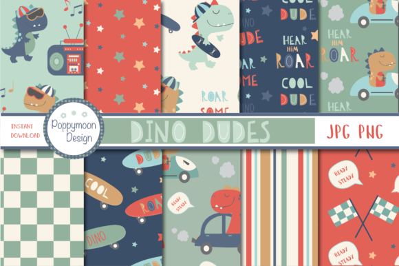 Print on Demand: Dino Dudes Paper Graphic Patterns By poppymoondesign