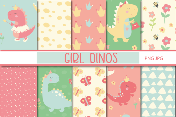 Print on Demand: Dino Girl Papers Graphic Patterns By poppymoondesign