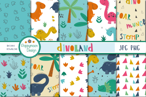 Print on Demand: Dinoland Papers Graphic Patterns By poppymoondesign