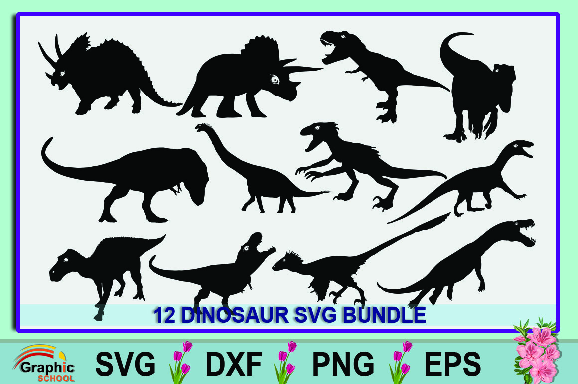 Download Free Dinosaur Bundle Graphic By Graphic School Creative Fabrica for Cricut Explore, Silhouette and other cutting machines.