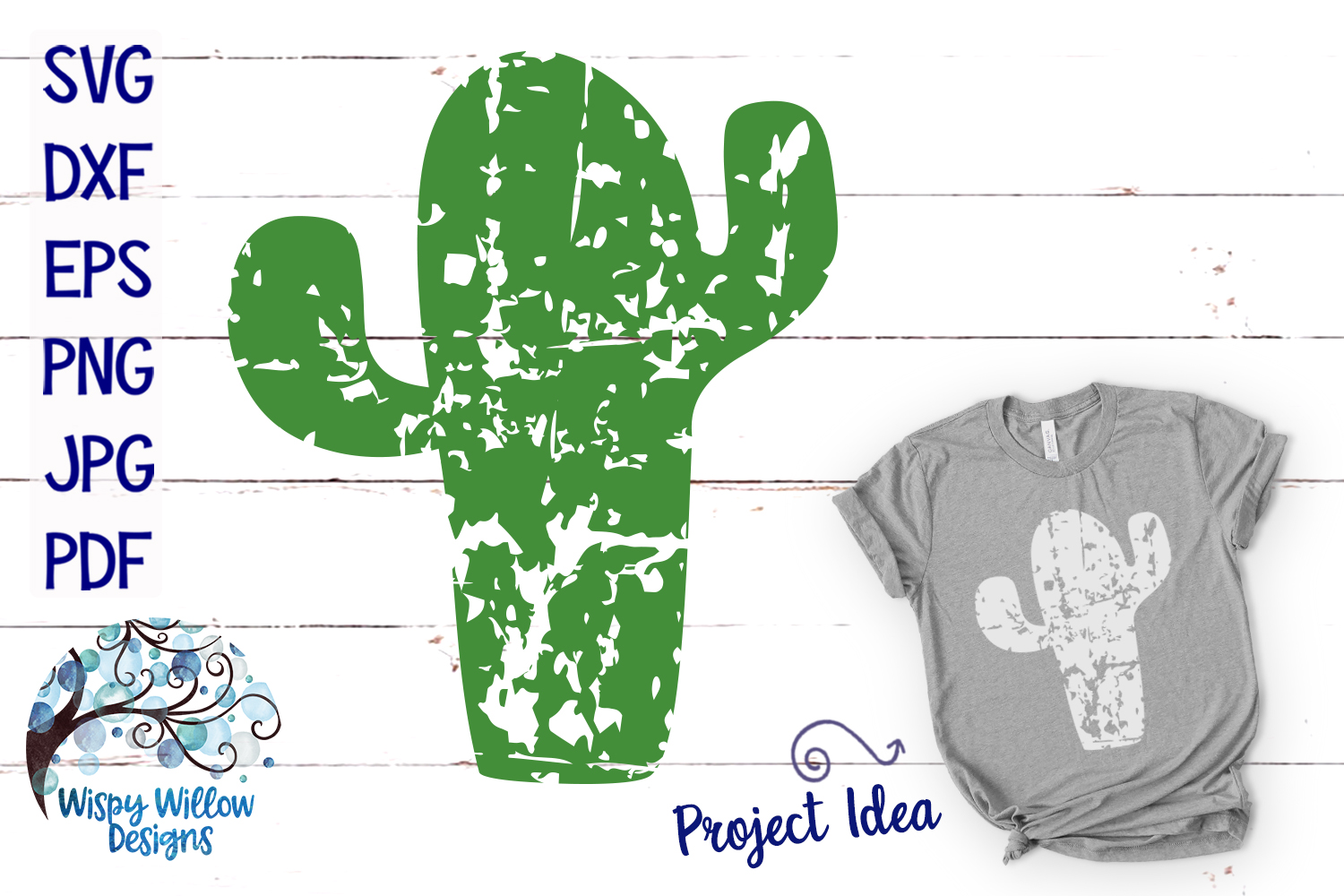Download Free Distressed Grunge Cactus Svg Graphic By Wispywillowdesigns for Cricut Explore, Silhouette and other cutting machines.