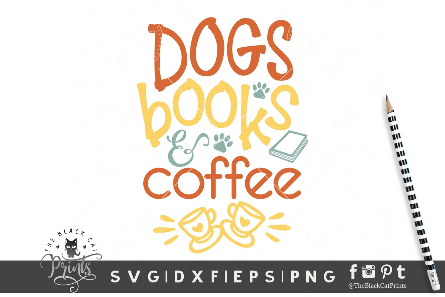 Download Free Dogs Books Coffee Svg Grafico Por Theblackcatprints Creative for Cricut Explore, Silhouette and other cutting machines.