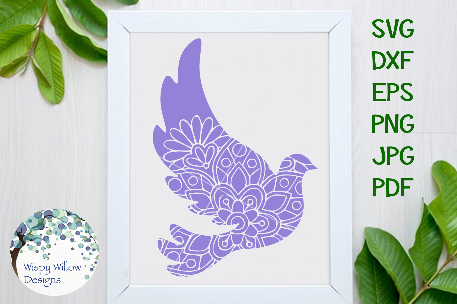 Download Free Dove Mandala Zentangle Svg Graphic By Wispywillowdesigns for Cricut Explore, Silhouette and other cutting machines.