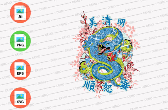 Dragon Asian Graphic Illustrations By Skull and Rose