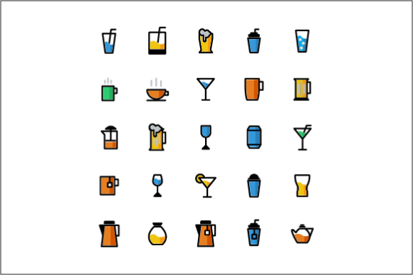Drink Color Vector Icon Set Graphic Icons By tutukof - Image 1