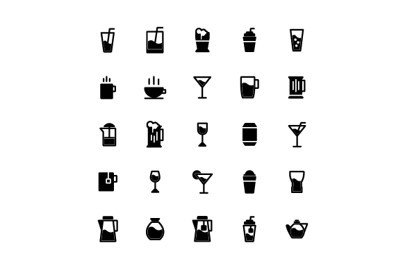 Drink Glyph Vector Icon Set Graphic Icons By tutukof