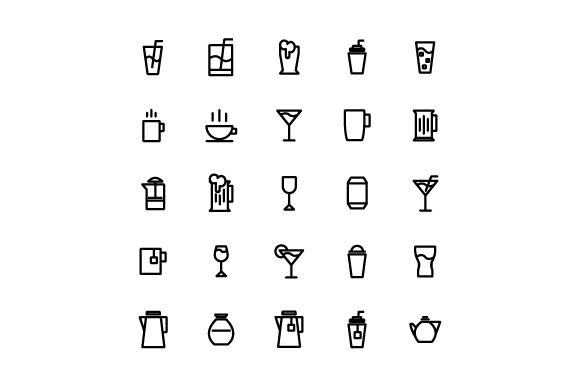 Drink Line Vector Icon Set Graphic Icons By tutukof