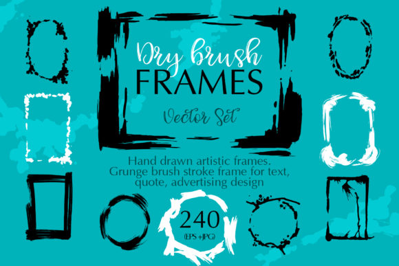Print on Demand: Dry Brush Frames Vector Collection Vector Set Graphic Illustrations By MyStocks
