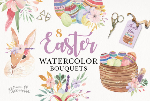 Easter Bunny Bouquet Spring Eggs Collection Graphic Illustrations By Bloomella