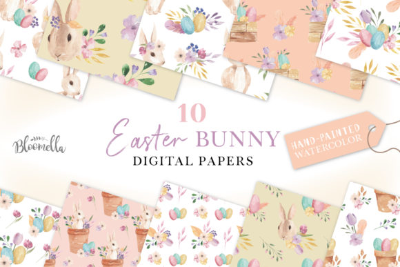 Easter Bunny Egg Floral Digital Papers Watercolor Flower Graphic Patterns By Bloomella