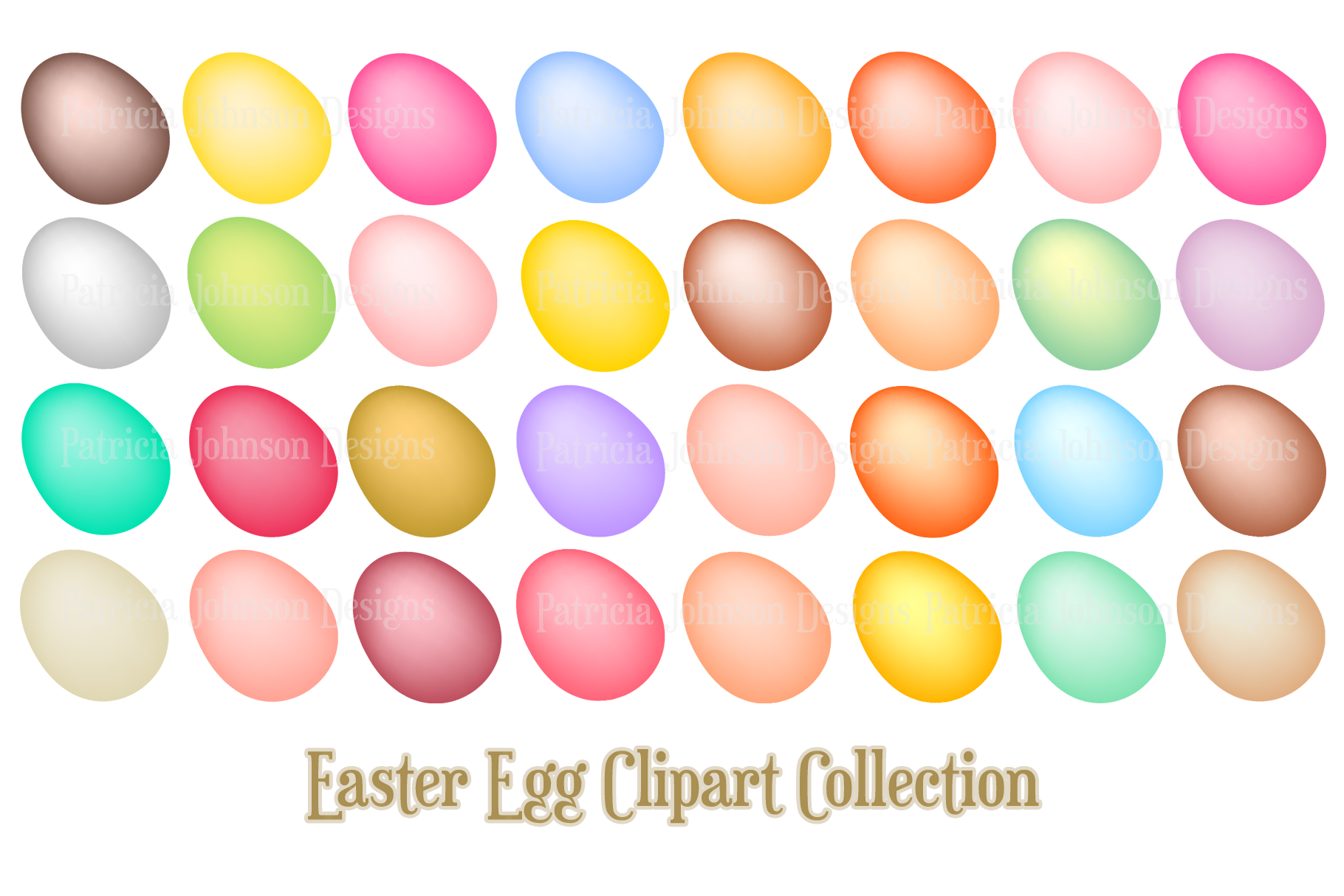 Download Free Easter Eggs And Flowers Clip Art Collection Graphic By The for Cricut Explore, Silhouette and other cutting machines.