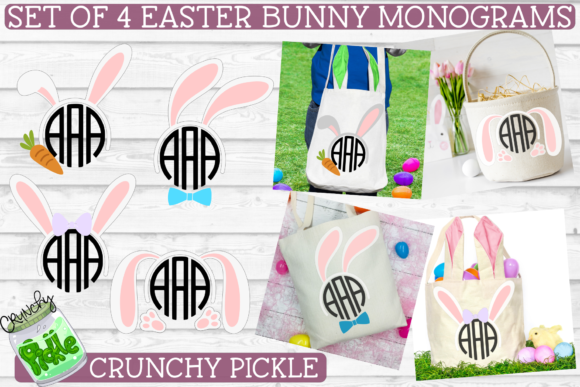 Easter Monograms Mini 4 Piece Graphic Crafts By Crunchy Pickle