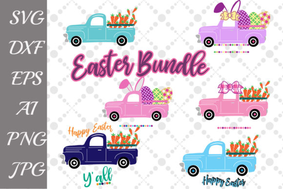 Download Free Easter Retro Truck Svg Bundle Graphic By Prettydesignstudio for Cricut Explore, Silhouette and other cutting machines.
