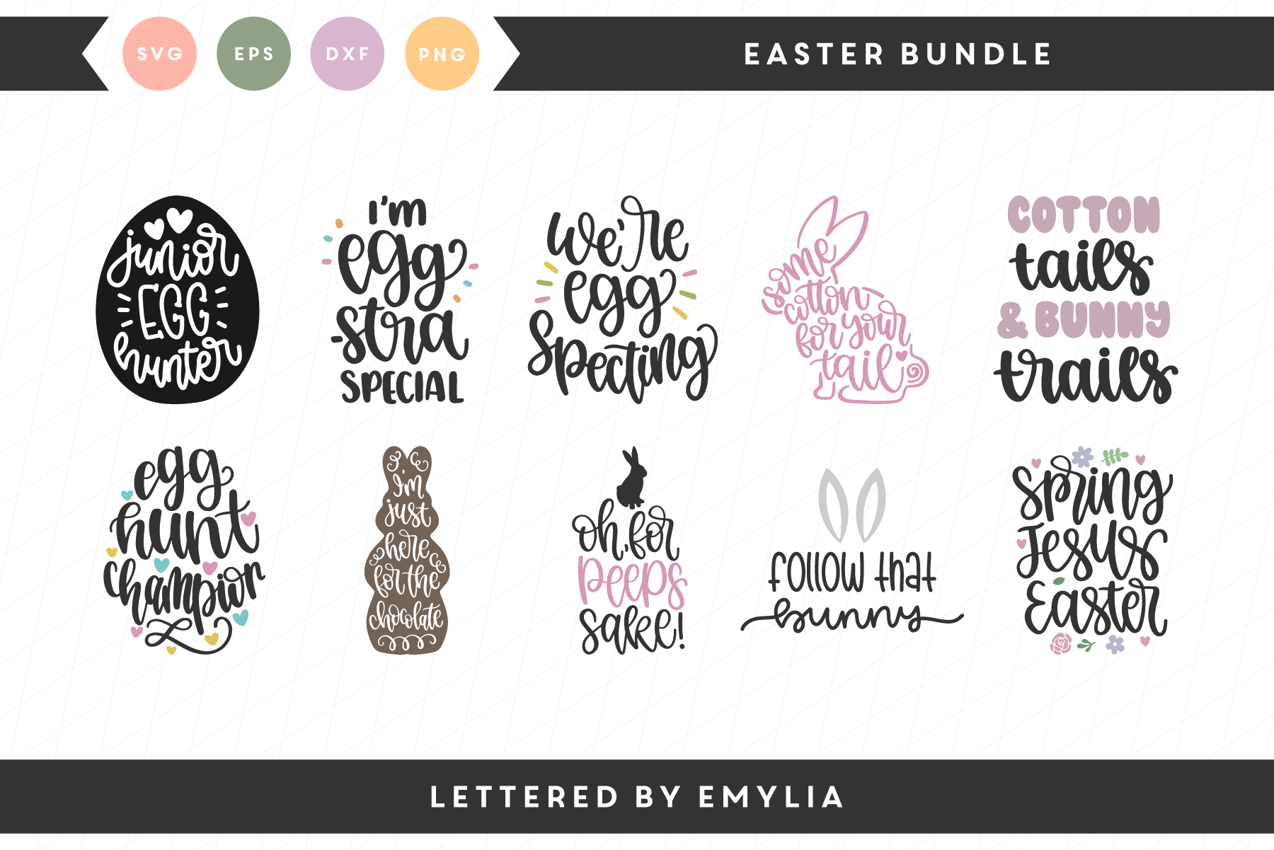 Download Free Easter Bundle Graphic By Lettered By Emylia Creative Fabrica for Cricut Explore, Silhouette and other cutting machines.