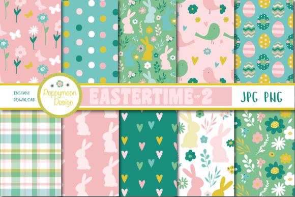 Print on Demand: Easter Time Papers Graphic Patterns By poppymoondesign
