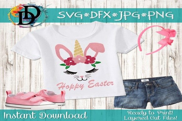 Print on Demand: Easter Unicorn Bunny SVG Graphic Crafts By dynamicdimensions