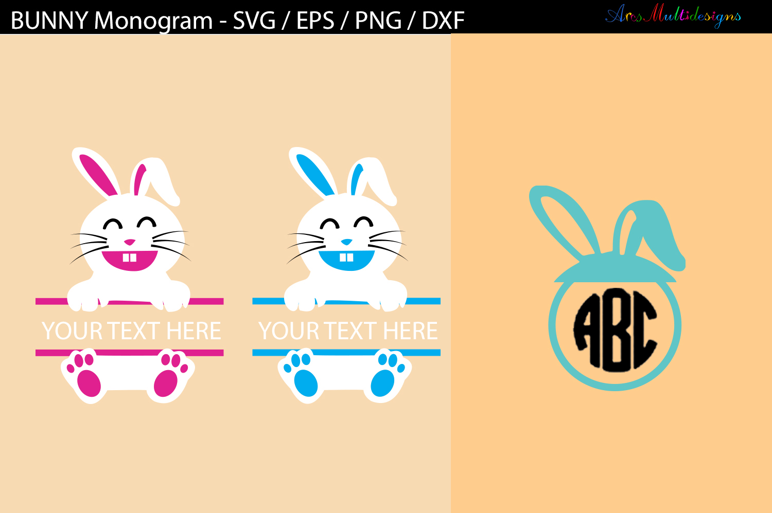 Download Free Easter Bunny Monogram Svg Graphic By Arcs Multidesigns for Cricut Explore, Silhouette and other cutting machines.