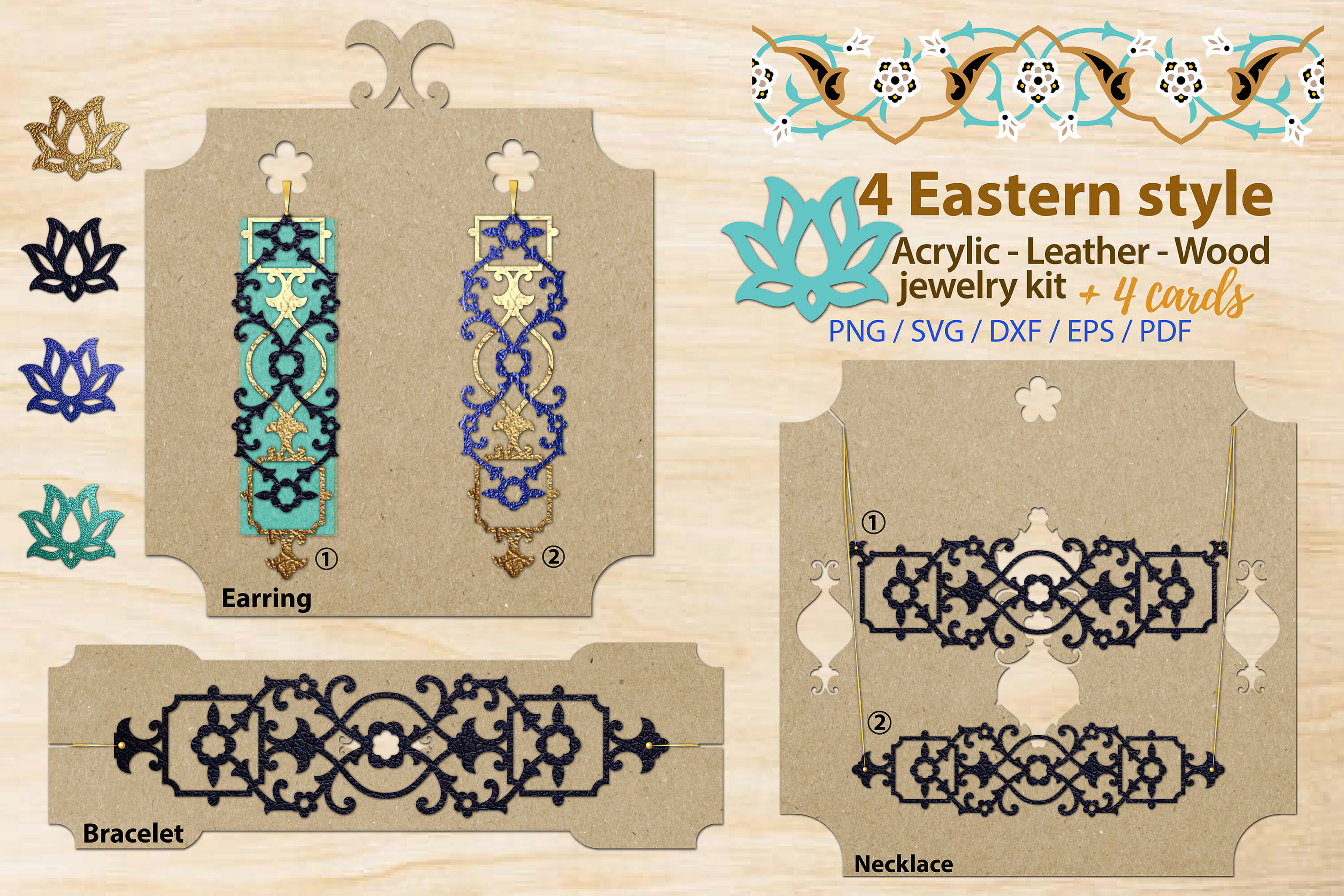 Download Free Eastern Style Acrylic Leather Wood Jewelry Kit Graphic By for Cricut Explore, Silhouette and other cutting machines.