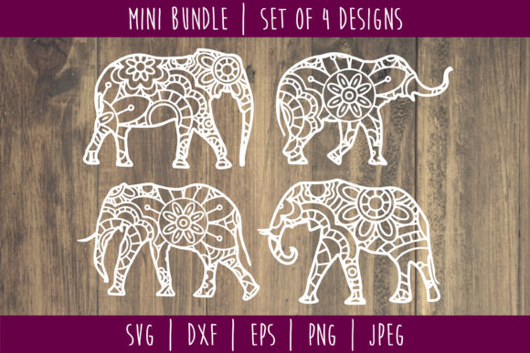 Download Free Elephant Mandala Zentangle Mini Bundle Graphic By for Cricut Explore, Silhouette and other cutting machines.
