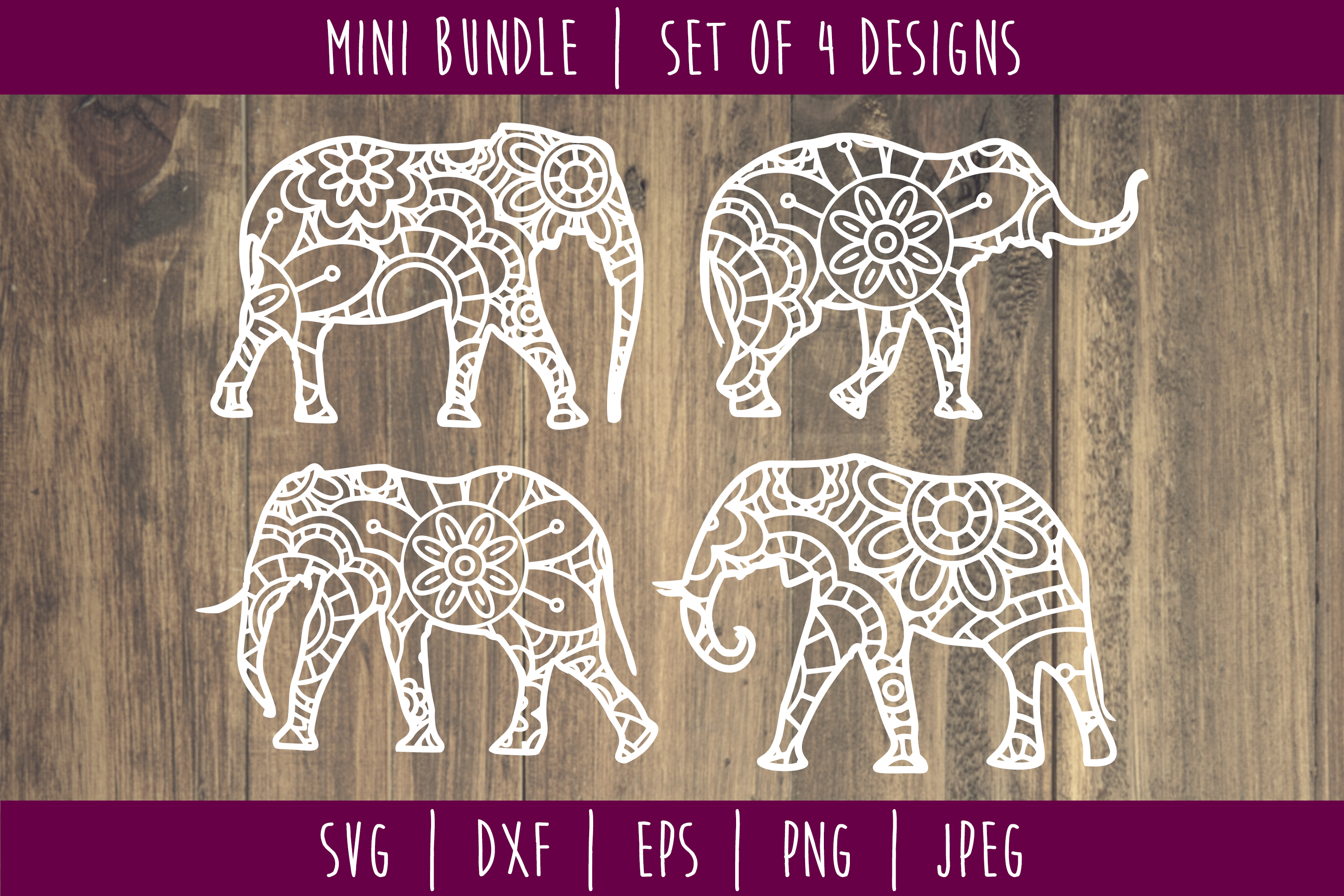 Download Free Elephant Mandala Zentangle Mini Bundle Grafik Von Savoringsurprises Creative Fabrica for Cricut Explore, Silhouette and other cutting machines.