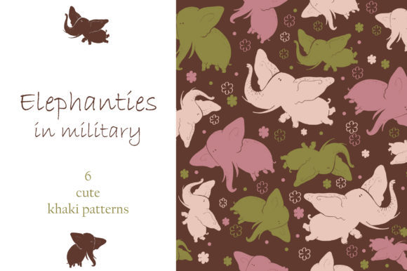 Elephants in Military Graphic By Zooza Art