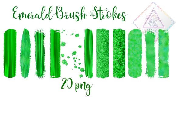 Print on Demand: Emerald Brush Strokes Clipart Graphic Illustrations By fantasycliparts
